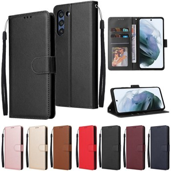Leather Case For Samsung Galaxy S21 Ultra S20 S10 S9 S8 Plus S7 S6 Edge S5 S20 S21 FE S10E/Plus Wallet Case For Note 20/10/9/8 1