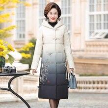 Зимняя Толстая хлопковая куртка для женщин, удлиненная парка, винтажное пальто с пуговицами и принтом, пальто для женщин среднего возраста, повседневное пальто с капюшоном и вышивкой