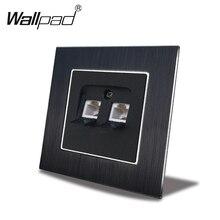 цена на EU Data Tel Outlet Cat6 Wallpad 110V-240V AC Metal Chrome Metal Frame CAT 6 CAT 3 RJ45 RJ11 Socket with Claws