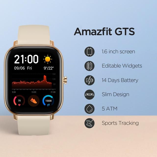 Global Version Amazfit GTS Smart Watch 5ATM Waterproof Swimming Smartwatch NEW 14Days Battery Editible Widgets for Xiaomi 2