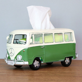 Flower Retro Iron Bus Tissue Box Model Figurines Car Craft Home Decoration Accessories for Living Room Ornaments for Home Decor 10