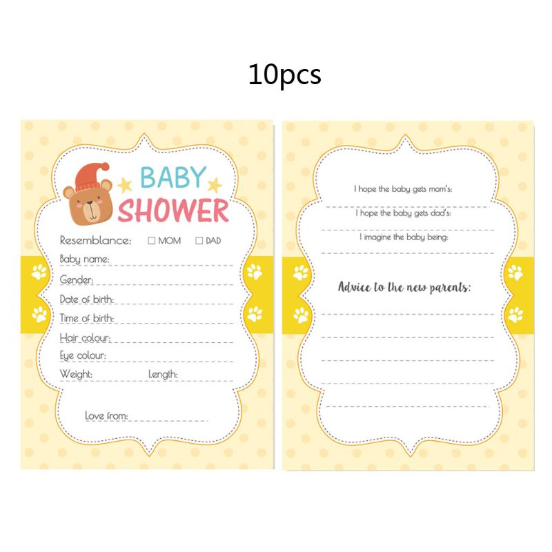 10Pack Baby Predictions Advice Cards Baby Shower Games Party Activities Supplies M76C