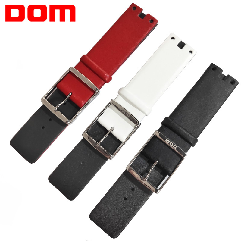 DOM Leather Watchband Genuine Leather Strap  22mm Silver Metal Buckle Clasp Women Watch Band For LP-205