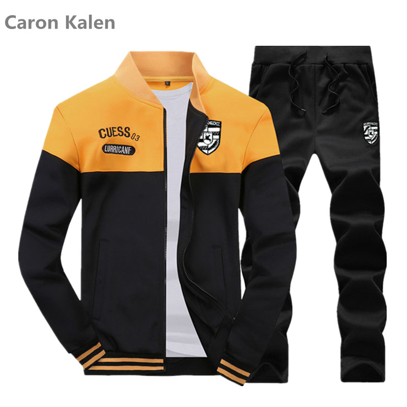 Fashion Men Sets 2019 Autumn Winter Sporting Suit Sweatshirt +Sweatpants Mens Clothing 2 Pieces Sets Slim Tracksuit Asian Size