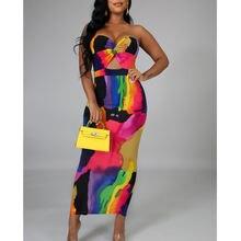 Женское летнее платье без бретелек облегающее длинное с вырезами