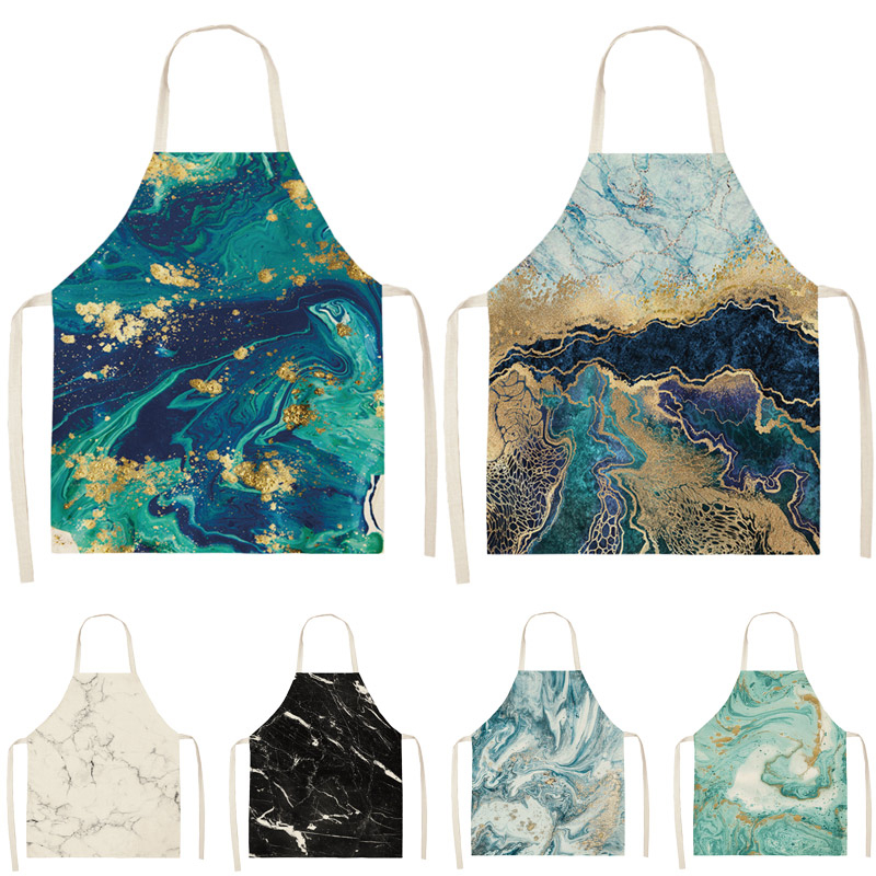 1Pcs Marble pattern Printed Cleaning Art Aprons Home Cooking Kitchen Apron Cook Wear Cotton Linen Adult Bibs 53*65cm WQ0110