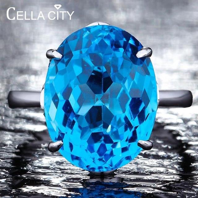 Женское серебряное кольцо с голубым топазом 12*16 мм, кольцо с аквамариновым драгоценным камнем, ювелирное изделие из цельного натурального серебра с драгоценным камнем, ювелирные украшения для помолвки