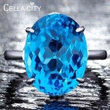 Cellacity gerçek 925 ayar gümüş yüzük ile kadınlar için 12*16MM mavi Topaz yüzük taş Aquamarine nişan güzel takı