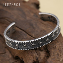 925 Sterling Silver Thai Handmade Craft Five-pointed Star Open Bangles Punk Rock Trendy Bracelet Bangles Fine Jewelry for Men цена