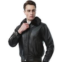 Меховой воротник натуральная куртка из овечьей кожи Настоящее пальто из овчины для мужчин