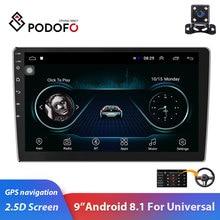 "Podofo 2din Araba Radyo 9 ""Android 2.5D Araba Multimedya Oynatıcı GPS Navigasyon Wifi Mirrorlink Autoradio 2DIN Evrensel Araba Stereo"