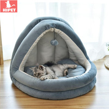 Removable Pet Cat Nest Bed Dog Puppy Kennel Winter Soft Cotton Washable Small Cave Sleeping House Sofa For