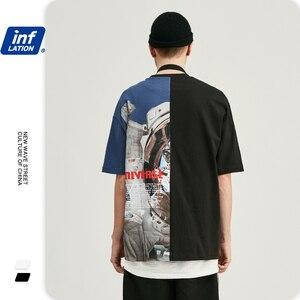 Image 5 - Инфляции мужская одежда футболка мужская Цвет блок астронавт печати футболка футболки с коротким рукавом мужские 2019 Летняя мода уличная Swag футболки для супружеской пары толстовка мужская 91218 S