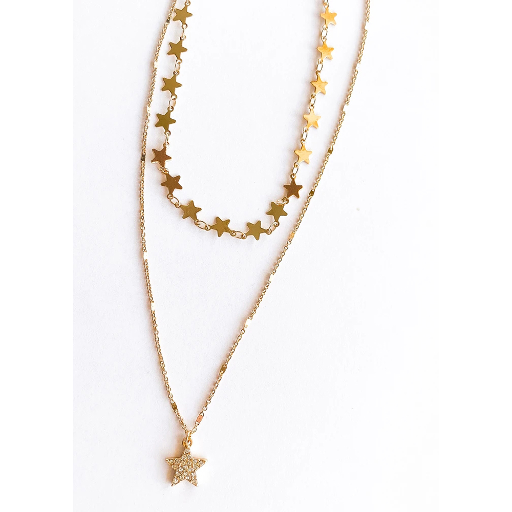 New Fashion Crystal Inlaid Five-pointed Star Pendant Necklaces For Women Multilevel Sequined Stars Chain Female Necklace Jewelry