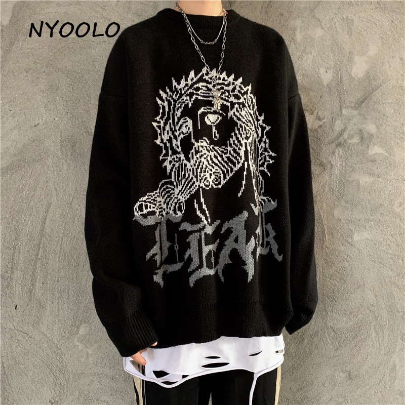 NYOOLO Autumn Winter Street Jesus Letters Thick Warm Knitted Sweater Casual Loose Long Sleeve O-neck Pullover Sweaters Women Men