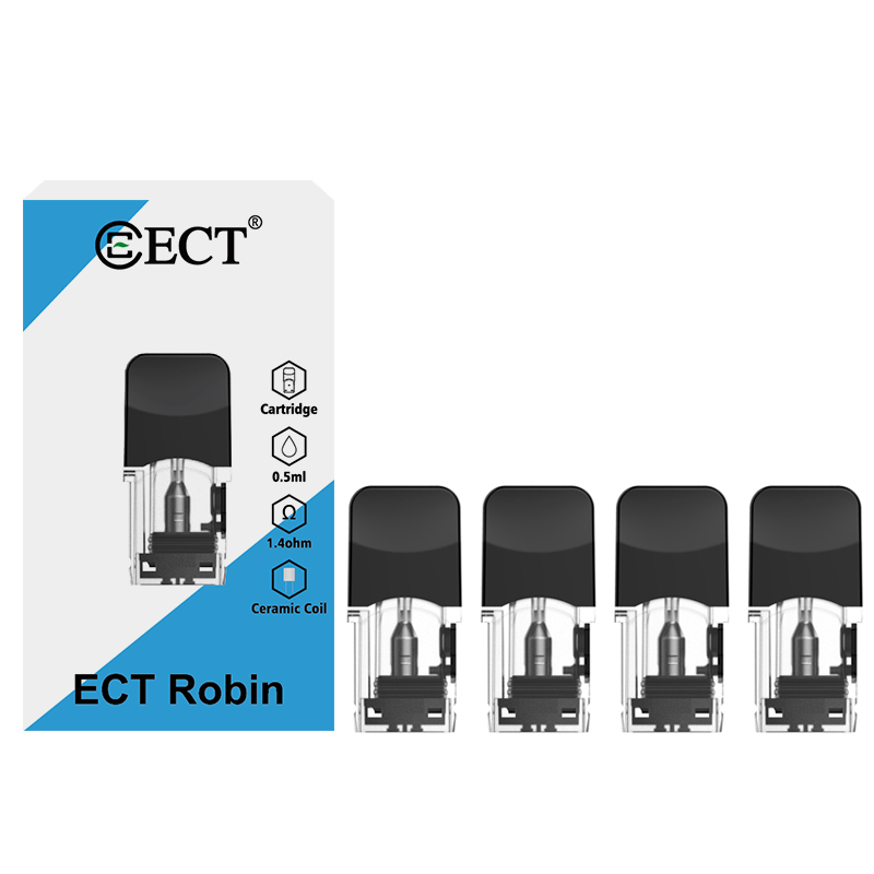 4pcs/pack ECT Robin Refill Pods Cartridge Atomizer For Juul Vape For Electronic Cigarette Kit Vape 0.5ml Capacity 1.3/1.4ohm