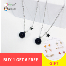 Blue natural crystal round stone sand ball star pendant necklace for women/girl fashion jewelry 925 sterling silver bijoux femme round beads ball opal pendant necklace 925 sterling silver chain necklaces natural stone opal collares women jewelry bijoux gift