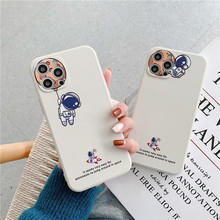 Creative Earth Astronaut Phone Case for iPhone 11 12pro 12mini Soft Silicone Shell for iPhone 7 8 XR XS 7/8Plus Phone Cover Ins
