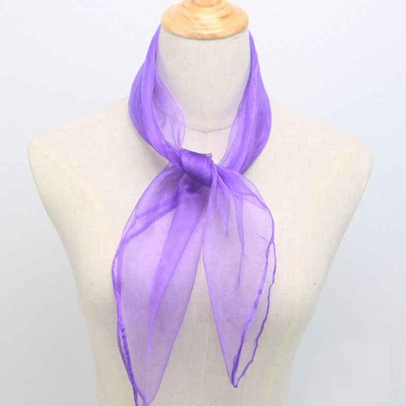 60x60CM Unisex marinero brillo sedoso pañuelo de cuello cuadrado de Color caramelo de lazo de señora pañuelo baile puro tul cabeza 12 colores
