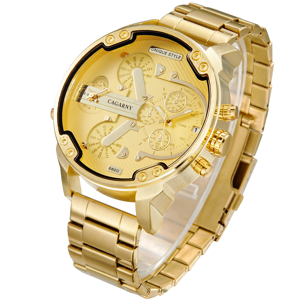 Cagarny 6820 Cool Mens Wrist Watches Man Quartz Watch Men Golden Stainless Steel Dual Time Zones Military Relogio Masculino XFCS