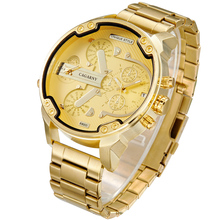 Cagarny 6820 Cool Mens Wrist Watches Man Quartz Watch Men Golden Stainless Steel Dual Time Zones Military Relogio Masculino XFCS все цены