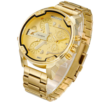 Cagarny 6820 Cool Mens Wrist Watches Man Quartz Watch Men Golden Stainless Steel Dual Time Zones Military Relogio Masculino XFCS men watches cagarny rose gold case men s wristwatch business male clock quartz watch dual time zones military relogio masculino