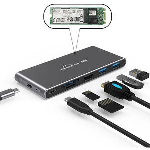 M.2 SATA SSD корпус Мульти USB 3,1 концентратор HDMI адаптер для разветвителя порт концентратор USB-C 3,0 Тип C для MacBook Pro ноутбук док-станция