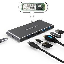 NGFF SATA SSD Ốp Lưng USB 3.1 Hộp Ổ Cứng Đa USB 3.0 HDMI PD Bộ Chuyển Đổi Sang Bộ Chia Cổng USB HUB USB-C loại C Cho Macbook Pro