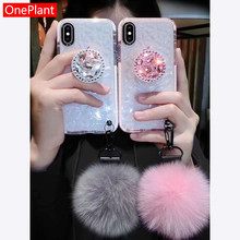 For Samsung S8 S9 S10 Note10 9 Fur Ball+Crystal 3D Bracket+Strap diamond Cover F