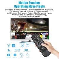 Arkadan aydınlatmalı Bluetooth uyumlu hava fare şarj edilebilir klavye jiroskop IR öğrenme uzaktan kumanda TV kutusu sopa Android PC