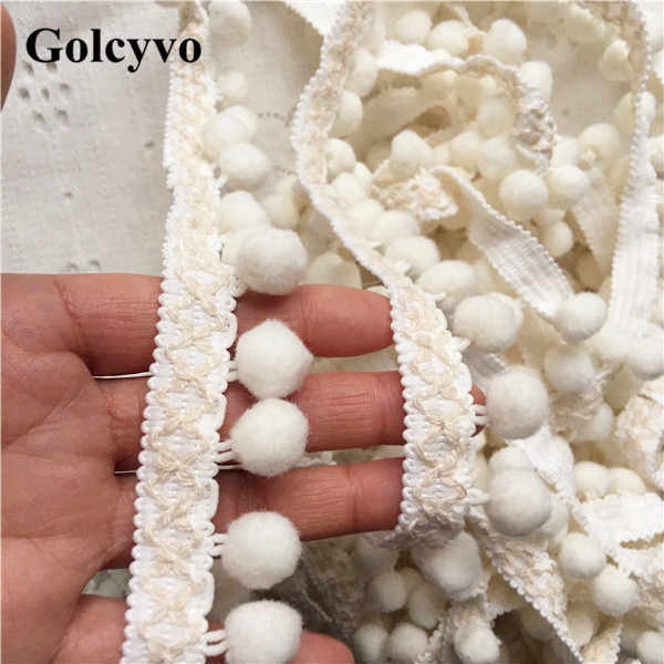 1Yard Polyester Tassels POM POM Trims Edge Skirt Clothing Curtain DIY Sewing Crafts 2.5cm Width