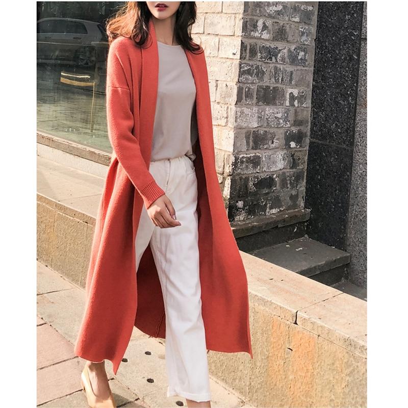 Qiukichonson Korean Style Women Long Cardigan 2019 Autumn Winter Knitted Casual Ladies Long Sleeve Sweater Cardigan Feminino