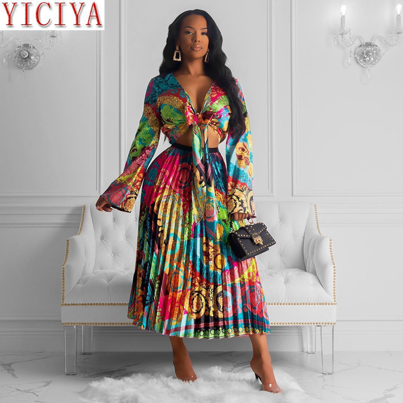 Spring 2020 Women's Clothing Elegant Two Piece Skirt Sets Long Sleeve Blouse And Pleated Skirts Suit Evening Party Clothing