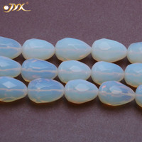 JYX Wholesale 18x28mm Cream Faceted Drip shaped Moonstone String Lover's Stone 'Healing DIY Jewelry Home Decor 15.5inch 18x28mm