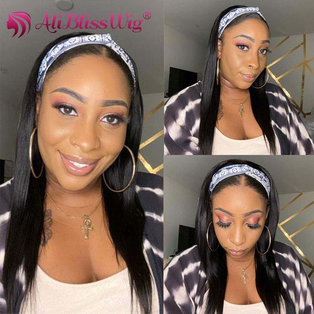 Headband Wig Human Hair Wigs Straight Headband Wigs For Black Women Headband Scarf Wig Brazilian Human Hair Wig Remy Hair