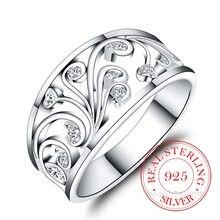 Bagues en Argent Sterling 925 pour femmes et hommes, motif végétal exquis, cristal Cz infini, Bague en Argent 925