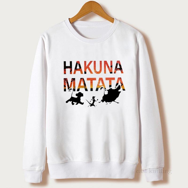 The Lion King Hakuna Matata Pullover Streetwear Sweatshirt Women Ulzzang Kawaii Fashion Hooodies Casual Female Clothes