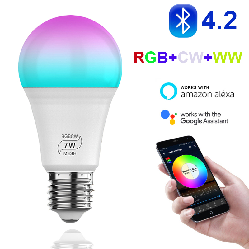 Bluetooth4.2 7W 500LM RGBW+CW+WW Led Bulb BT Mesh Net Group Smart Led Light Color Dimmable Easy To Connect APP Remote Control