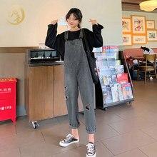 Женские Ретро рваные джинсовые комбинезоны повседневные Свободные Студенческие прямые штаны Серый