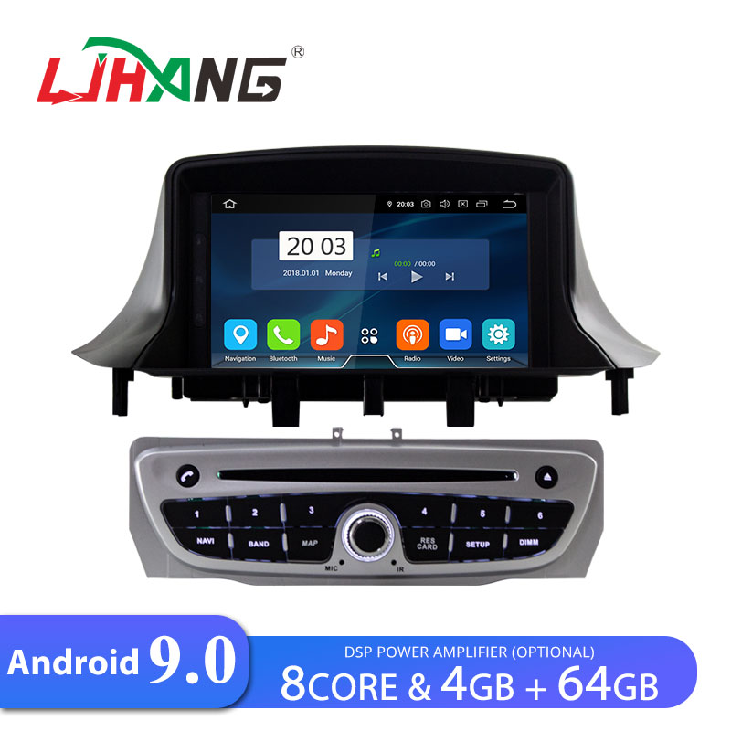 LJHANG Car <font><b>DVD</b></font> Player Android 9.0 For <font><b>Megane</b></font> 3 Fluence 2009-2015 Multimedia <font><b>GPS</b></font> Navi Automotive 1 Din Car Radio Stereo WIFI Auto image