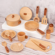 Children's Log Wooden Kitchen Toy Set Pretend Play Simulation Kitchenware Miniature Mini Food Educational Toys Gift for Kids