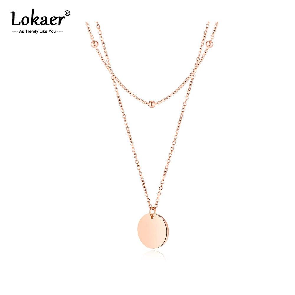 Lokaer мода нержавеющая сталь двухслойный маленький цепочка, круглые бусины Глянцевая Круглая Подвеска Ожерелье для женщин и девочек N17092