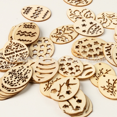 50pcs Easter Decoration Wooden Eggs Wood Hanging Pendant Easter Party Supplies Craft DIY Ornament Hanging Tag For Happy Easter