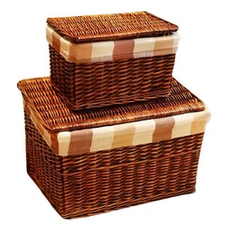 Classic Handwoven Household wicker storage basket with Lid with Cloth Liners large laundry basket storage wicker rattan baskets