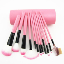 12Pcs Makeup Brush Bucket Set Professional Travel Cosmetic Brushes Tool with Storage Holder