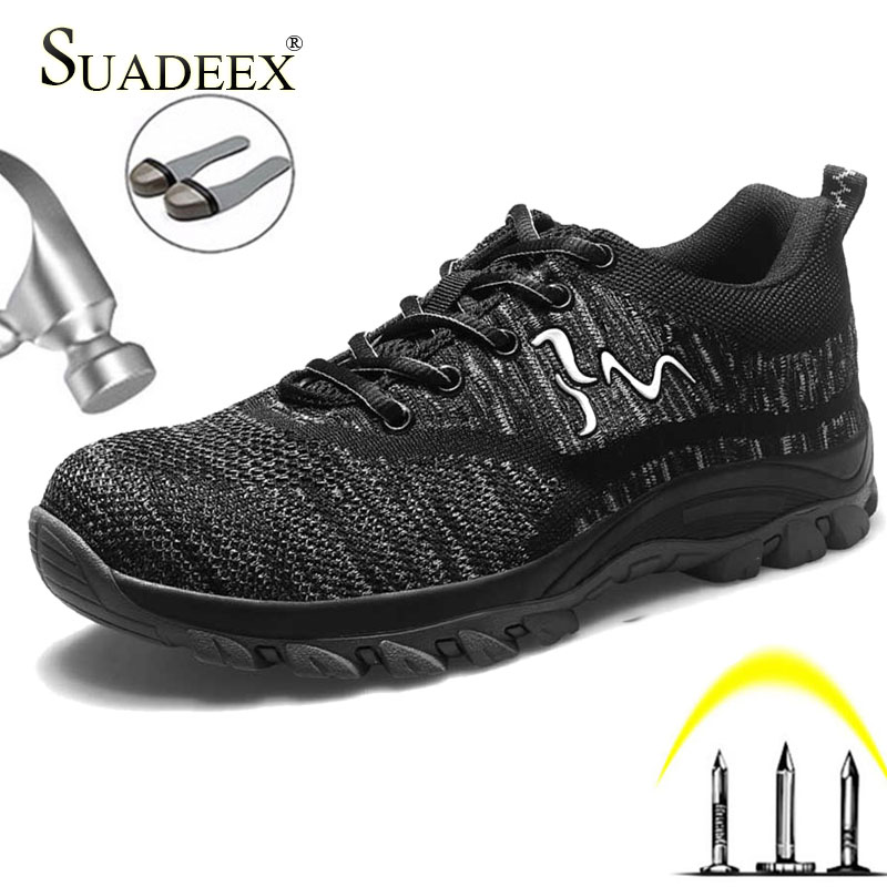 SUADEEX Safety Shoes Women Men Work Shoes Anti-smashing Security Steel Toe Sneakers Outdoor Safety Boots