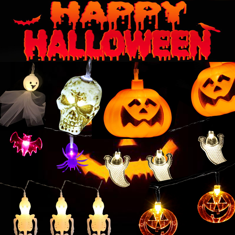 Halloween String Lights 10/20 LED Fairy String Light LED Bulb Lamp Pumpkin Skeleton Bone Ghost Bat Spider Decorations