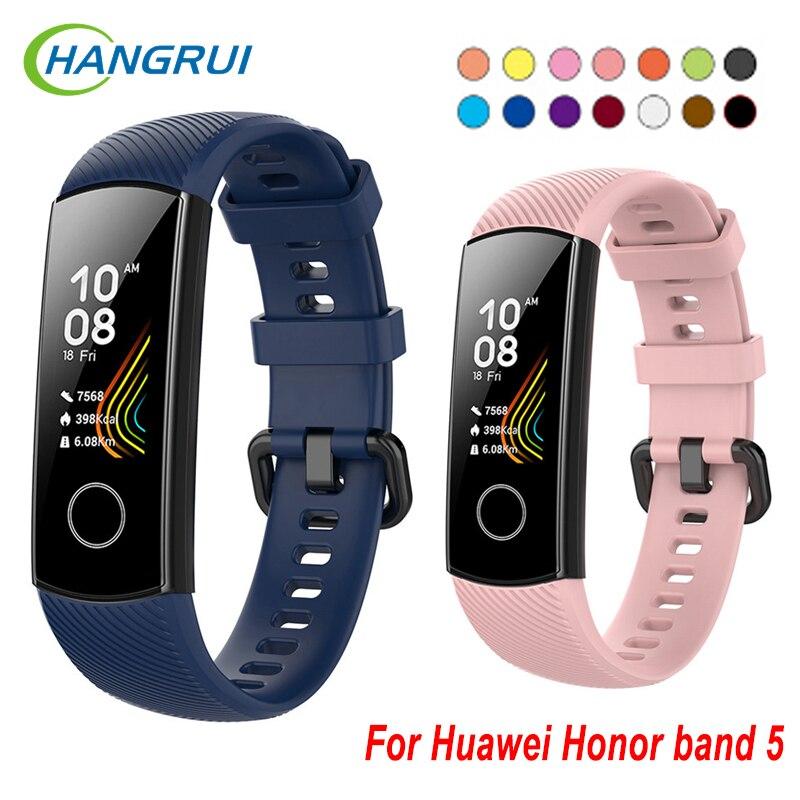 Hangrui For Huawei Honor Band 5 Wrist Strap Soft Silicone Bracelet TPU Wristband For Huawei Honor Band 5 Band5 Smart Accessories