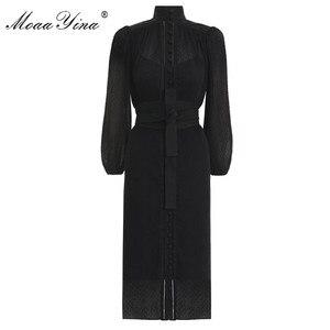Image 2 - MoaaYina robe chic pour femmes, col montant, manches lanternes, simple boutonnage, Vintage élégante, robe printemps printemps