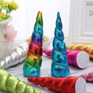 Image 1 - Nishine 30 pcs/lot licorne corne Flatback pour bébé filles bandes de cheveux chapeaux fête bricolage chapeaux cheveux accessoires cadeaux danniversaire